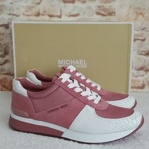 New Michael Kors Allie Trainer Leather Sne…